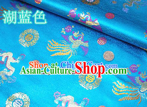 Traditional Chinese Royal Dragon Phoenix Pattern Blue Brocade Tang Suit Fabric Silk Fabric Asian Material