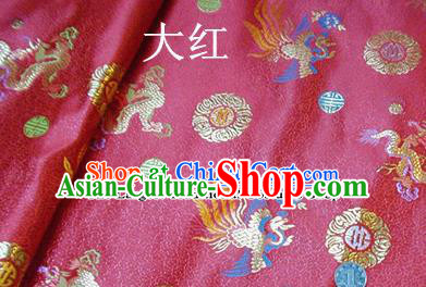 Traditional Chinese Royal Dragon Phoenix Pattern Red Brocade Tang Suit Fabric Silk Fabric Asian Material