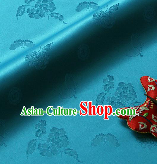 Traditional Asian Classical Peony Butterfly Pattern Blue Brocade Cloth Drapery Korean Hanbok Palace Satin Silk Fabric