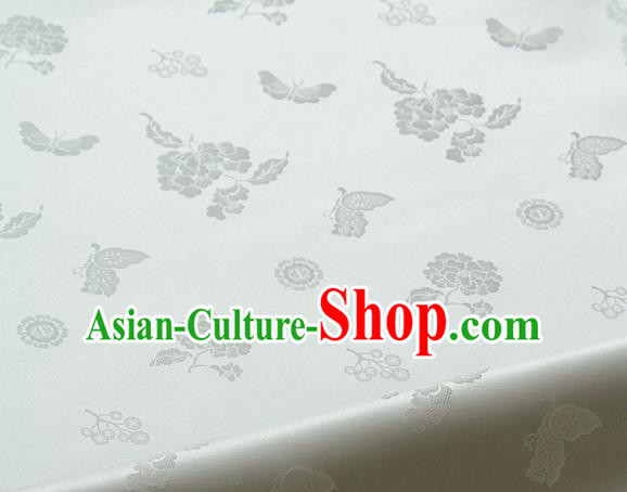 Traditional Asian Classical Peony Butterfly Pattern White Brocade Cloth Drapery Korean Hanbok Palace Satin Silk Fabric
