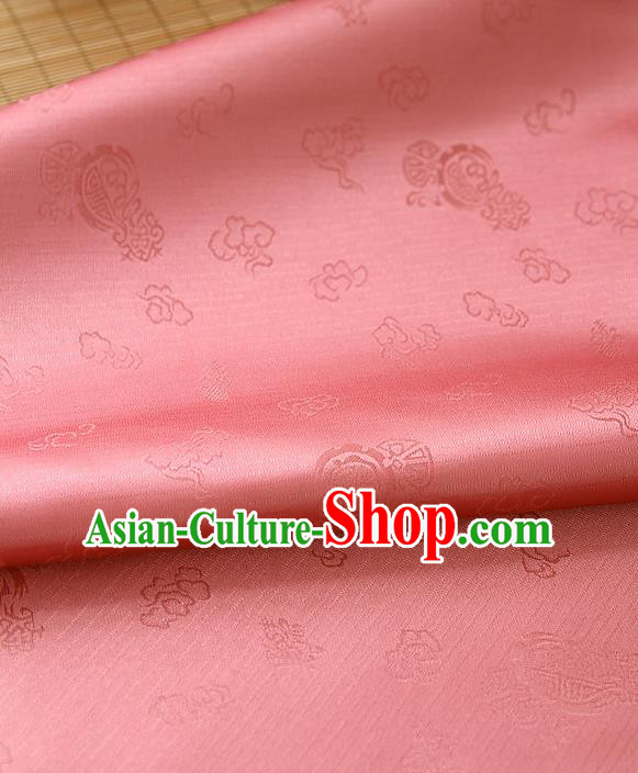 Traditional Asian Classical Pattern Watermelon Red Brocade Cloth Drapery Korean Hanbok Palace Satin Silk Fabric
