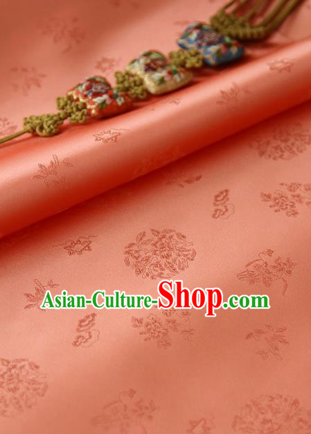 Traditional Asian Classical Pattern Orange Brocade Cloth Drapery Korean Hanbok Palace Satin Silk Fabric