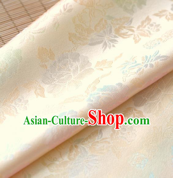 Asian Traditional Classical Pattern Beige Brocade Cloth Drapery Korean Hanbok Palace Satin Silk Fabric