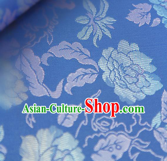 Asian Traditional Classical Pattern Blue Brocade Cloth Drapery Korean Hanbok Palace Satin Silk Fabric