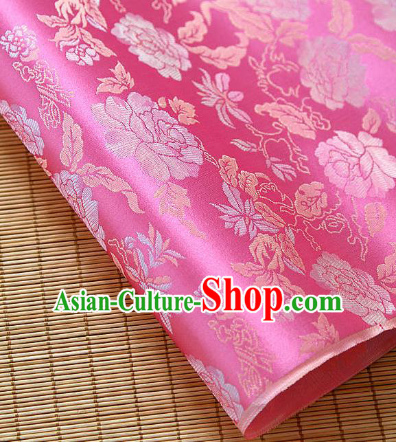 Asian Traditional Classical Pattern Rosy Brocade Cloth Drapery Korean Hanbok Palace Satin Silk Fabric