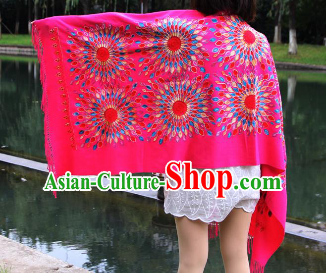 Chinese Traditional Scarf Yunnan National Rosy Wool Cloak for Women