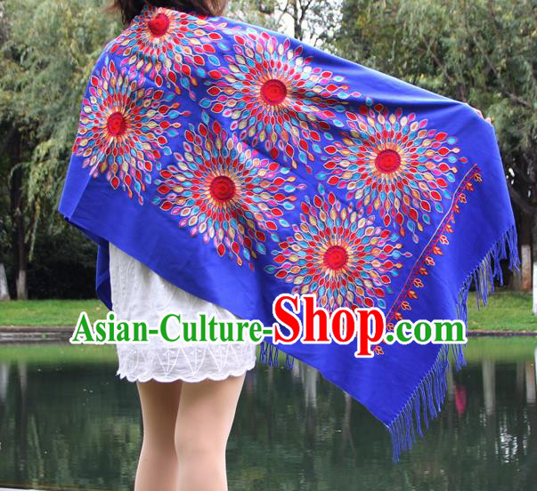 Chinese Traditional Scarf Yunnan National Blue Wool Cloak for Women