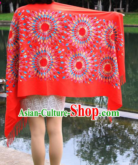 Chinese Traditional Scarf Yunnan National Red Wool Cloak for Women