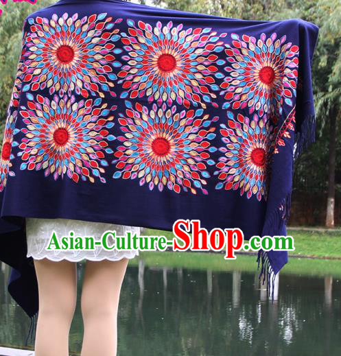 Chinese Traditional Scarf Yunnan National Purple Wool Cloak for Women