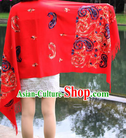Chinese Traditional Embroidered Scarf Yunnan National Red Wool Cloak for Women