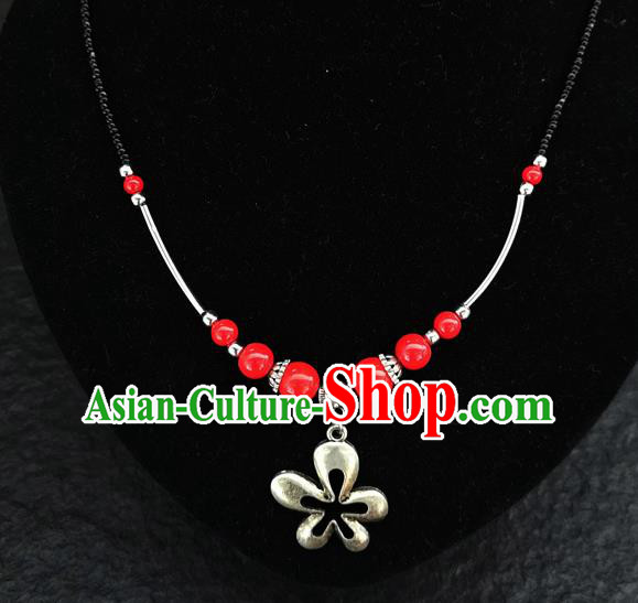 Chinese Traditional Jewelry Accessories Yunnan National Red Beads Minority Necklace for Women