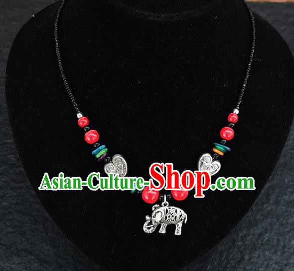Chinese Traditional Jewelry Accessories Yunnan National Red Beads Elephant Minority Necklace for Women