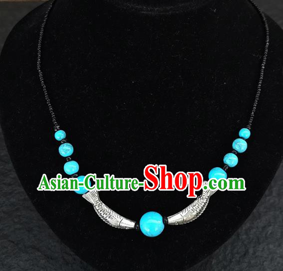 Chinese Traditional Jewelry Accessories Yunnan Minority Fish Blue Beads Necklace for Women