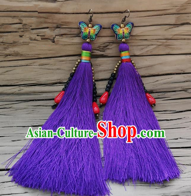 Chinese Traditional Embroidered Butterfly Earrings Yunnan National Purple Tassel Eardrop for Women