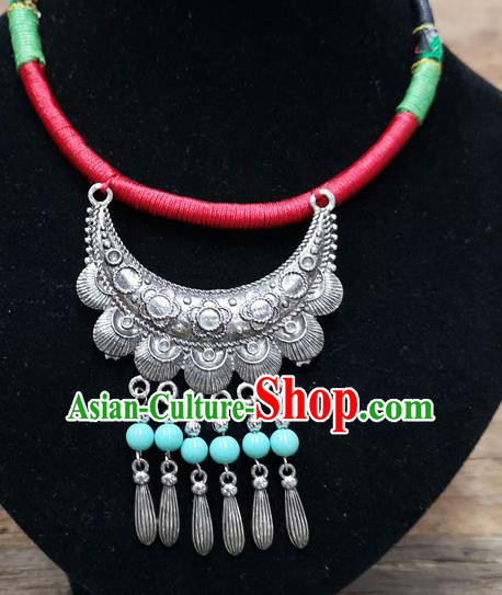 Chinese Traditional Jewelry Accessories Yunnan Minority Sliver Blue Beads Necklace for Women