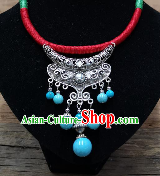 Chinese Traditional Jewelry Accessories Yunnan Minority Sliver Blue Beads Tassel Necklace for Women
