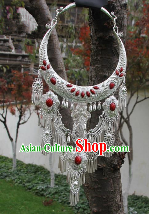 Chinese Traditional Jewelry Accessories Yunnan Miao Minority Sliver Necklace for Women