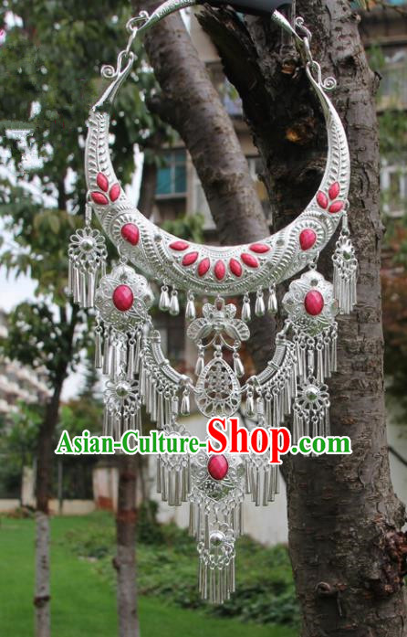 Chinese Traditional Jewelry Accessories Yunnan Miao Minority Sliver Pink Necklace for Women