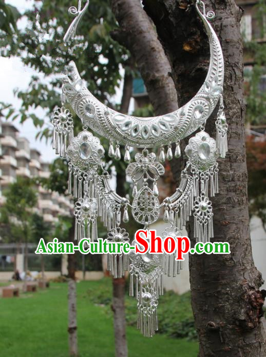 Chinese Traditional Sliver Jewelry Accessories Yunnan Miao Minority Necklace for Women