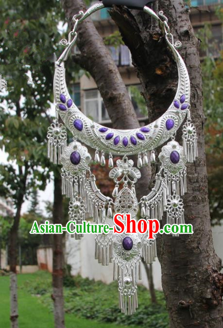 Chinese Traditional Jewelry Accessories Yunnan Miao Minority Sliver Purple Necklace for Women