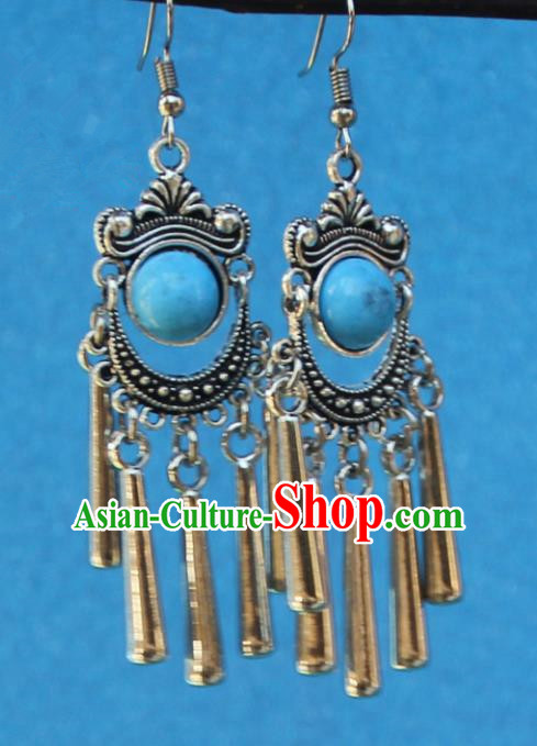 Chinese Traditional Sliver Blue Earrings Yunnan National Minority Tassel Eardrop for Women