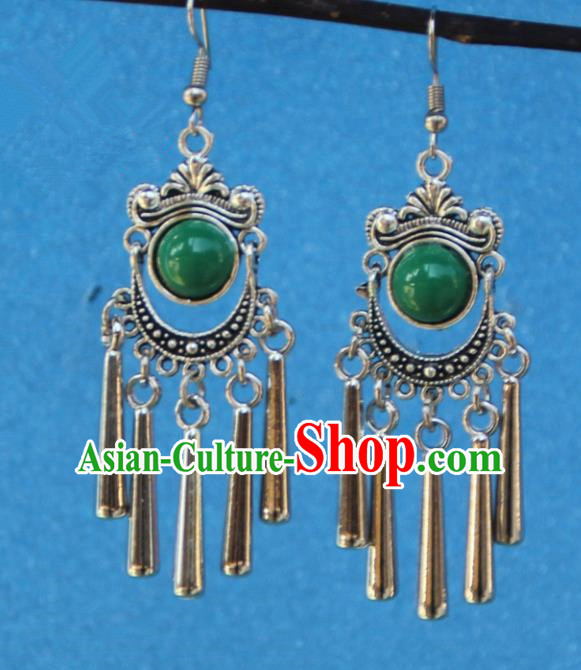 Chinese Traditional Sliver Green Earrings Yunnan National Minority Tassel Eardrop for Women