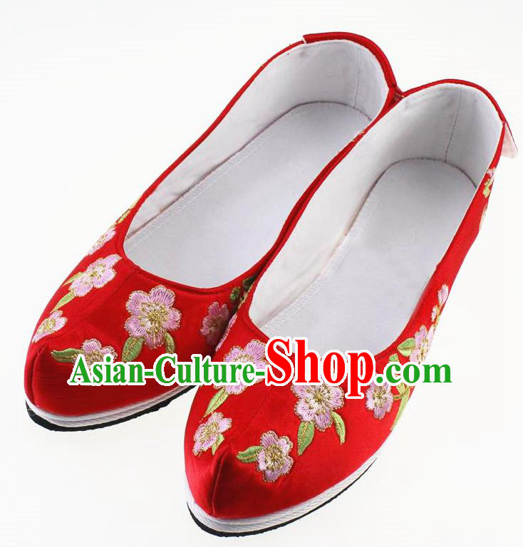 Chinese Traditional Hanfu Shoes Red Cloth Shoes Ancient Princess Embroidered Shoes for Women
