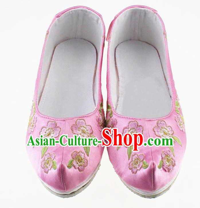 Chinese Traditional Hanfu Shoes Pink Cloth Shoes Ancient Princess Embroidered Shoes for Women