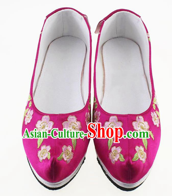 Chinese Traditional Hanfu Shoes Rosy Cloth Shoes Ancient Princess Embroidered Shoes for Women