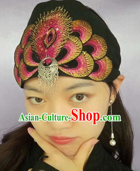 Chinese Traditional Embroidered Headscarf Yunnan Dai Minority Hat for Women