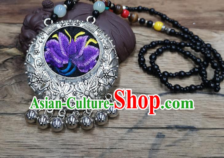 Chinese Traditional Jewelry Accessories Yunnan Miao Minority Embroidered Purple Lotus Necklace for Women