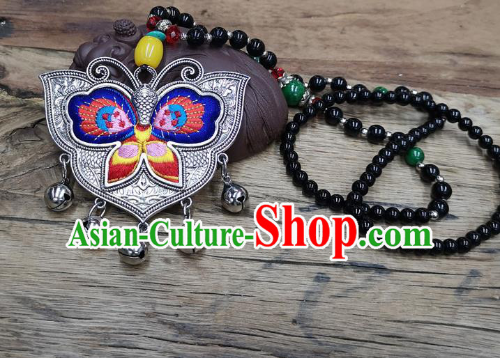 Chinese Traditional Jewelry Accessories Yunnan Miao Minority Embroidered Blue Butterfly Necklace for Women