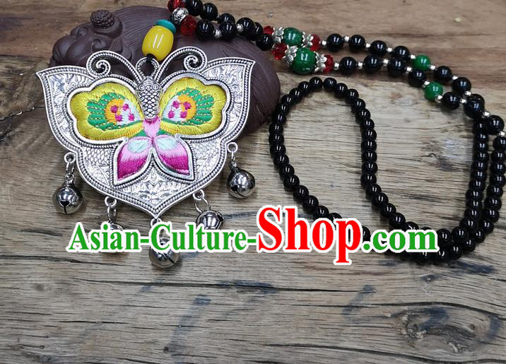 Chinese Traditional Jewelry Accessories Yunnan Miao Minority Embroidered Yellow Butterfly Necklace for Women