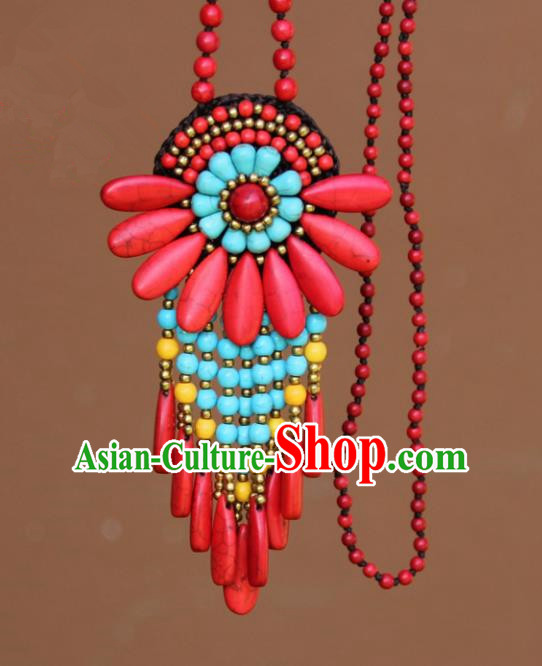 Chinese Traditional Jewelry Accessories Yunnan Minority Red Turquoise Necklace for Women