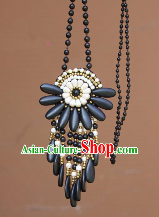Chinese Traditional Jewelry Accessories Yunnan Minority Black Turquoise Necklace for Women