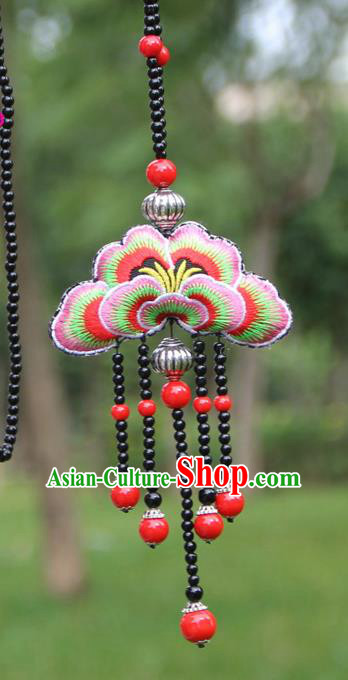 Chinese Traditional Jewelry Accessories Yunnan Minority Embroidered Red Butterfly Tassel Necklace for Women
