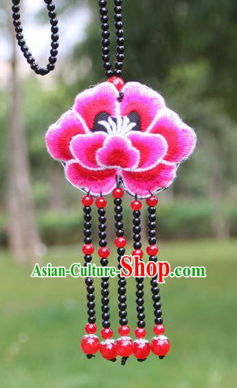 Chinese Traditional Jewelry Accessories Yunnan Minority Embroidered Rosy Peony Tassel Necklace for Women