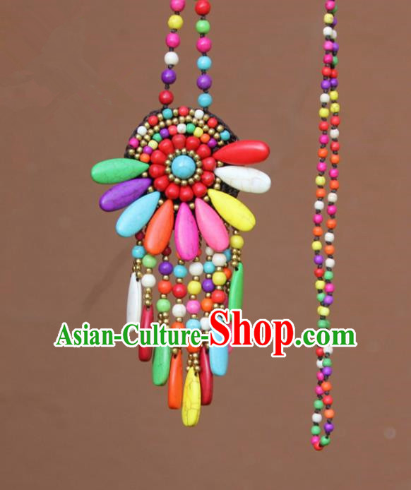 Chinese Traditional Jewelry Accessories Yunnan Minority Colorful Turquoise Necklace for Women
