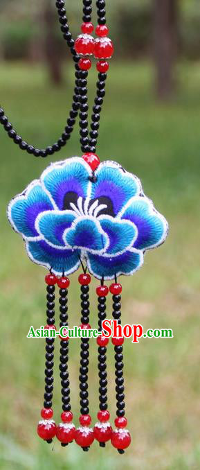 Chinese Traditional Jewelry Accessories Yunnan Minority Embroidered Blue Peony Tassel Necklace for Women