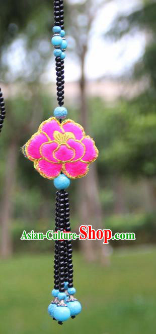 Chinese Traditional Jewelry Accessories Yunnan Minority Embroidered Pink Peony Tassel Necklace for Women