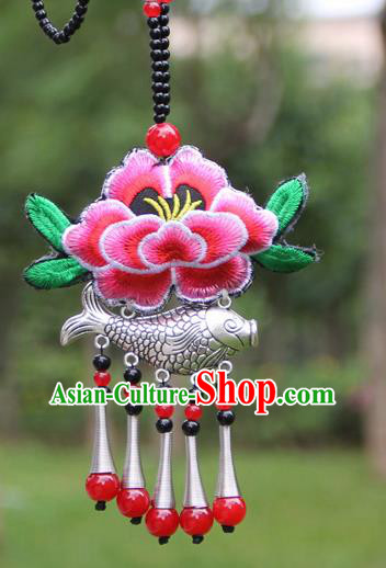 Chinese Traditional Accessories Yunnan Minority Embroidered Pink Peony Sliver Fish Necklace for Women
