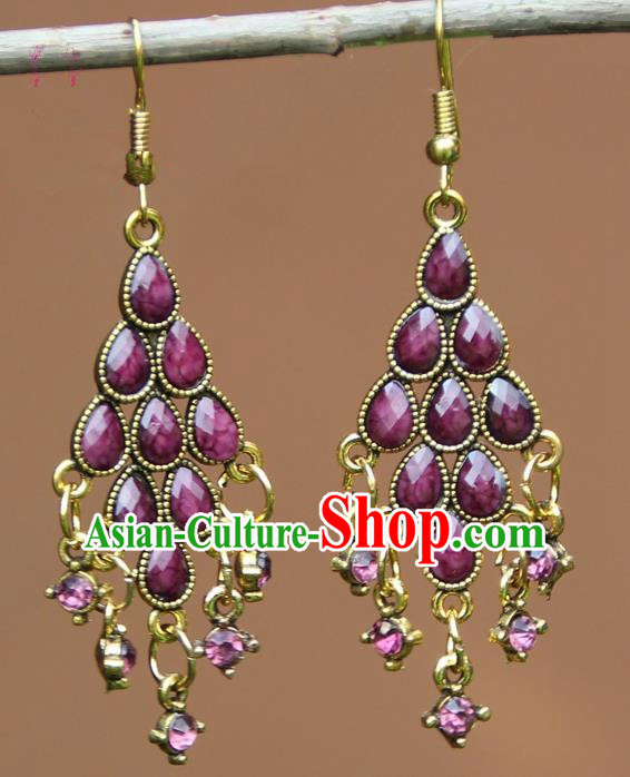 Chinese Traditional Purple Crystal Earrings Yunnan National Minority Ear Accessories for Women