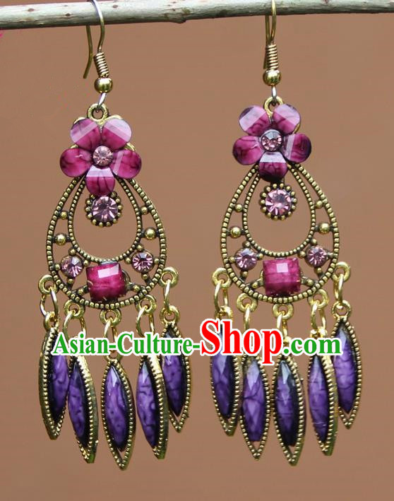 Chinese Traditional Purple Flower Earrings Yunnan National Minority Ear Accessories for Women