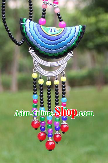 Chinese Traditional Accessories Yunnan Minority Embroidered Colorful Beads Tassel Necklace for Women