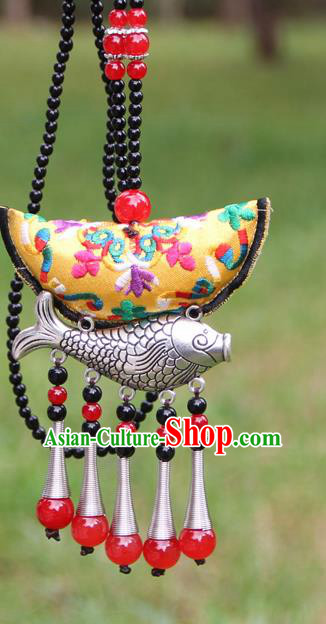 Chinese Traditional Accessories Yunnan Minority Embroidered Yellow Sliver Fish Necklace for Women