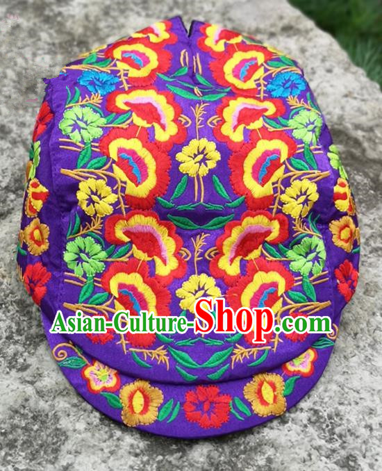 Chinese Traditional Embroidered Yunnan Dai Minority Purple Cap for Women