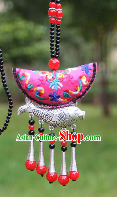 Chinese Traditional Accessories Yunnan Minority Embroidered Rosy Sliver Fish Necklace for Women