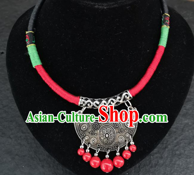 Chinese Traditional Accessories Yunnan Minority Red Beads Tassel Carving Sliver Necklace for Women