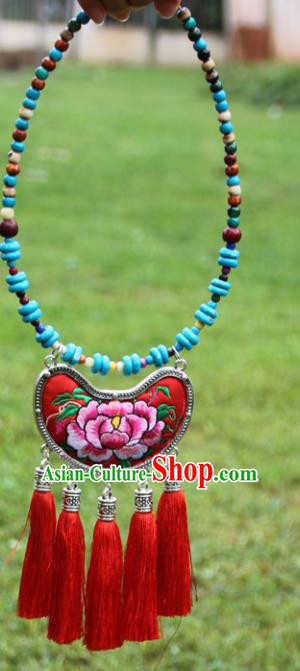 Chinese Traditional Accessories Yunnan Minority Embroidered Peony Red Necklace for Women