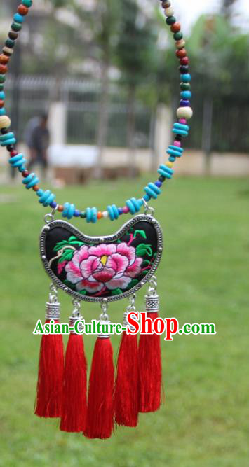 Chinese Traditional Accessories Yunnan Minority Embroidered Peony Black Necklace for Women